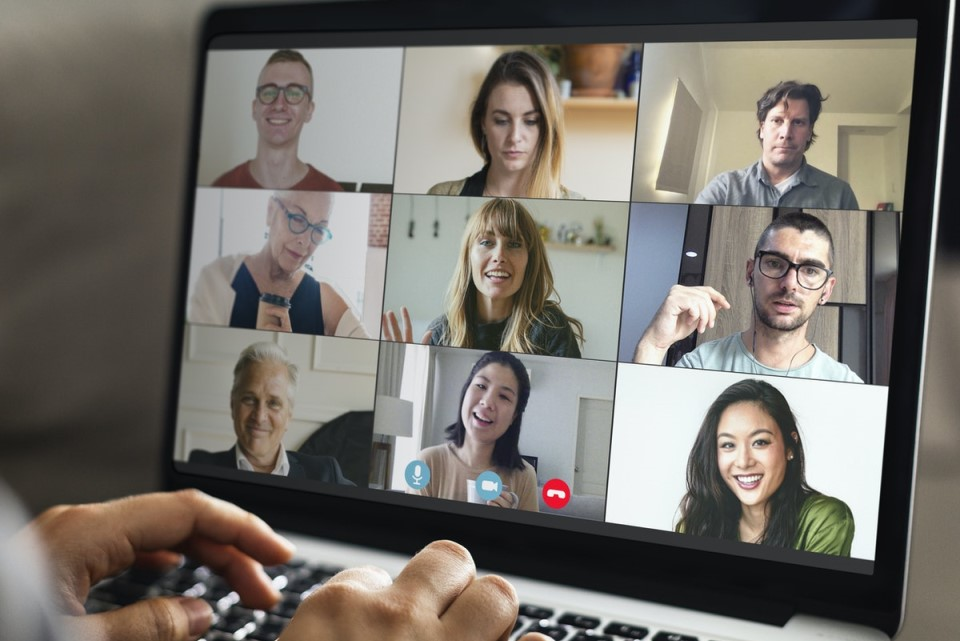 Hybrid team on video call